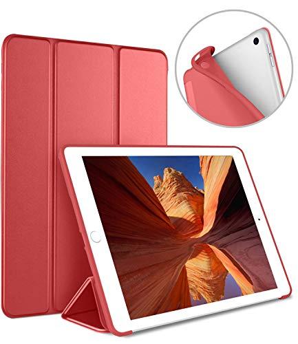 Luvfun Hülle für iPad 2018, Schutzhülle für iPad 2018/2017(6. Generation/5.Generation) mit Auto Schlafen/Wachen Cover Case für iPad 2018 9.7 A1822 / A1823 / A1893 / A1954(Rot)