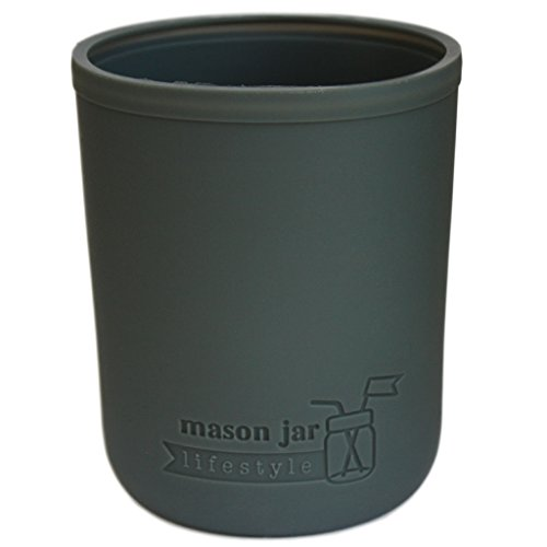 MJL Wide Mouth Pint Silicone Sleeve for Mason Jars (Charcoal Gray)