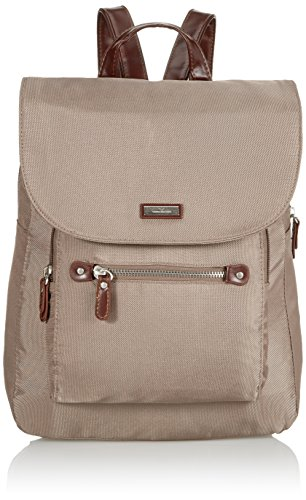 TOM TAILOR Rucksack Damen RINA, Grau (taupe 21), 28x33x12 cm, TOM TAILOR Rucksackhandtasche, Damenrucksack, Handtasche