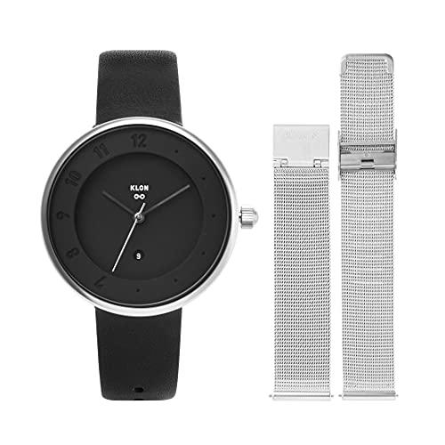 腕時計 替えベルト セット メンズ レディース 2way ブラック シルバー 人気 ブランド おしゃれ レザー 36mm KLON INFINITY STAIR series -LATTER- [36/B-FACE]