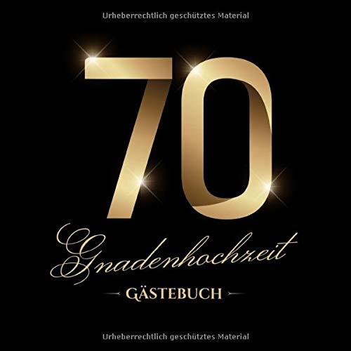 Gnadenhochzeit ~ Gästebuch: Deko zur Feier der Gnaden-Hochzeit - 70. Hochzeitstag - 70 Jahre -...