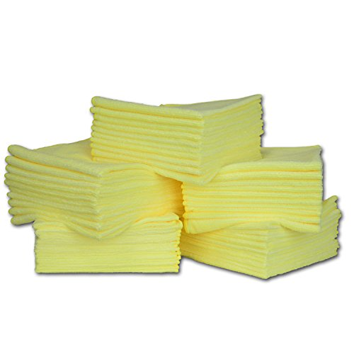 16' x 16' Economy All Purpose Microfiber Towels - 50 Pack - Reusable Wash Cloths, Dust, Kitchen, Car, Shop Rags for Cleaning (Yellow)