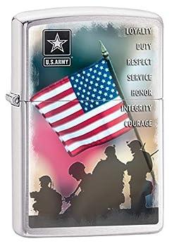 Zippo US Army Flag Waving Brushed Chrome Pocket Lighter Brushed Chrome American Flag One Size