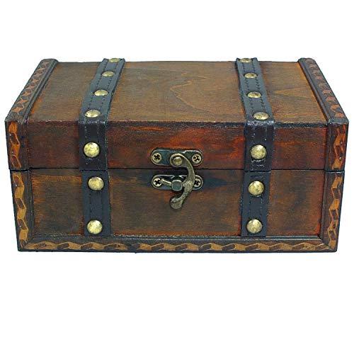 Baúl de madera ideal como regalo de boda para novios, cofre del tesoro de boda pequeño – Caja de regalo infantil, caja de regalo, caja de madera antigua, caja de madera – 180 x 120 x 80 mm