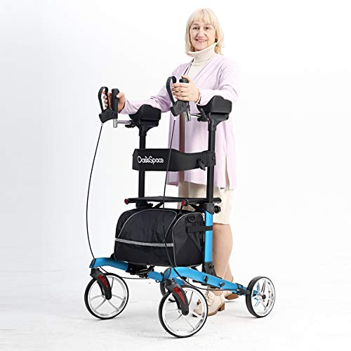 "OasisSpace Heavy Duty Upright Walker -Stand Up Rollator Walker with 22"" Wide Seat with Adjustable Backrest and Pad Armrest for Senior Support Up to 450lbs (Blue)"
