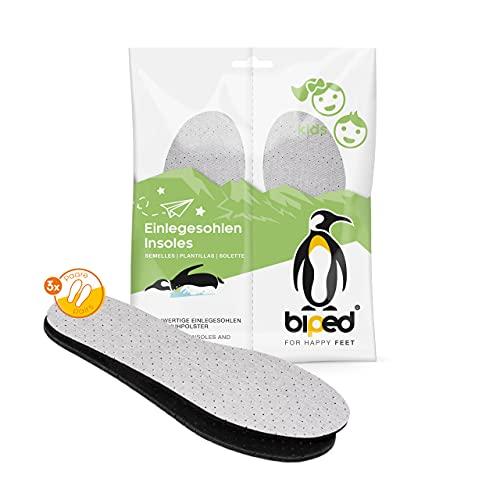 biped 3 paia di solette per bambini inseribili in lattice al carbone attivo - per la regolazione del clima, per scarpe e piedi igienicamente freschi z2768 (24-25)