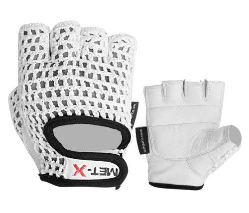 Met-X Guantes de piel de malla para entrenamiento de pesas de gimnasio, guantes de piel, para fitness, gimnasio, malla blanca (talla XL)