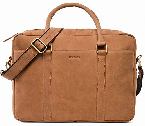 LEABAGS Istanbul Aktentasche Laptoptasche 15 Zoll aus echtem Leder im Vintage Look - Braun