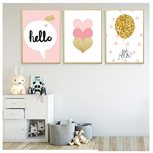 kaxiou Baby Meisje Kamer Poster Kids Wall Art Schilderijen Baby Poster Ballerina Canvas Schilderij Roze Hartfoto's Kwekerij Decor-40X50Cmx3 Stks Geen Frame