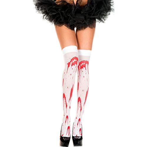 WILLQ Frauen Strümpfe Oberschenkel Hohe Socken für Halloween Cosplay Kostüm, Über Knie Lange Strümpfe Gefälligkeiten (Blut befleckt),Weiß,3 Pair