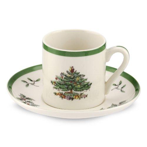Spode Christmas Tree Espresso Cups & Saucers Set