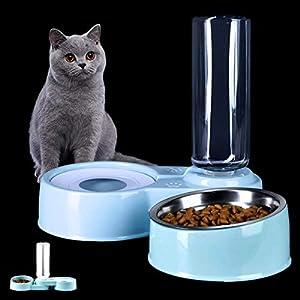 2 in 1 Comedero y Bebedero Automático para Gatos y Perros,Dispensador de Agua Pequeño, Comedero de Perros para Ralentizar la Comida, Gato Comedero De Agua para Mascotas, (Blanco y Azul) (Azul)