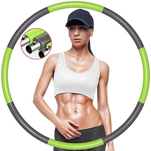 Hula Hoop Reifen Fitnesskreis Erwachsene Fitnessreifen Edelstahl Schaumstoff gepolstert Abnehmbare Reifen Erwachsene Anfänger für Fitness/Sport/Zuhause/BüRo/Abnehmen/Massage/Bauchformung