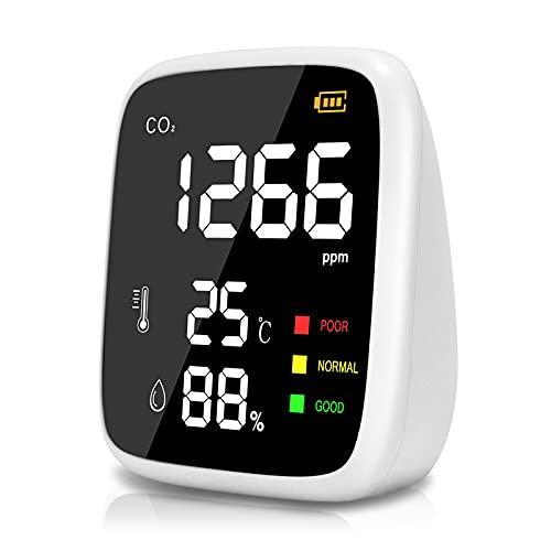 Medidor CO2 Portátil,400 a 5000 ppm Mini Detector CO2 Medidor de CO2,Probador de Humedad Relativa de Temperatura de Alta Precisión con Luz Indicadora de 3 Colores y Pantalla de Resaltado ✅