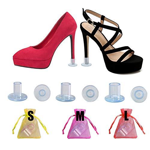 15 pares de protectores de talón, transparentes, tapas de tacón alto, para hierba, grava al aire libre, boda, 3 tamaños, tacones de aguja para zapatos de tacón alto