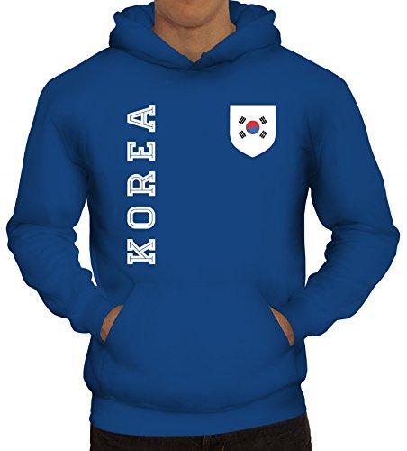 Wappen Fußball WM Fanshirt Gruppen Herren Hoodie Männer Kapuzenpullover Fan Trikot Korea, Größe: S,Royal Blau