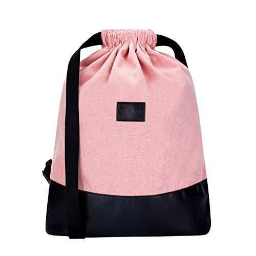 Zoegate Turnbeutel Daypack Beutel Kordelzug Gymsack Gym Bag Sportbeutel Cooler Hipster Beutel Rucksack für Damen & Herren mit Innentasche und Reißverschluß-Sicherheitstasche (Rosa)