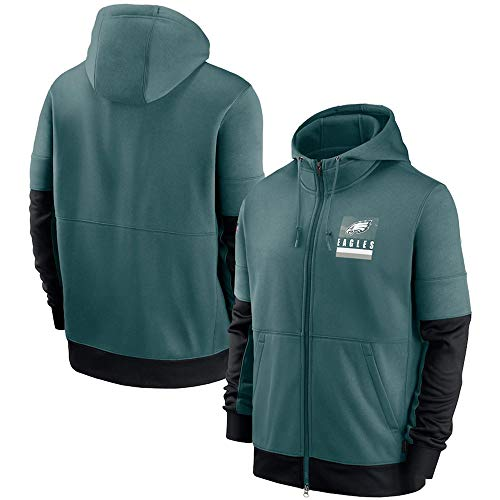 Men's Hoodie - NFL Philadelphia Eagles Football Jersey Casual Pullover Comfortable Sweatshirt Long Sleeve Printed Sweatshirt,Green,L(170~175cm)