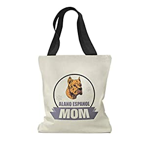 Custom Canvas Tote Shopping Bag Mom Alano Espanol Dog Mom Alano Espanol Dog Reusable Beach for Women 49