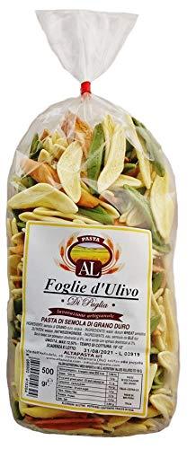 Frische Foglie d'Ulivo Tricolor Nudeln aus Italien 500g - Original Foglie d'Ulivo Pasta - trafila in bronzo - Olivenblatt Nudeln
