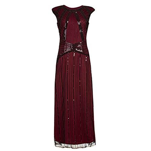 Vestido de Lentejuelas con cóctel para Mujer Vestido de Lentejuelas inspiradas Cuentas con borlas largas Vestido de los años 20 Negro Sexy