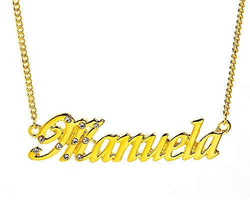 KL Kigu Manuela - Collana con nome da donna, placcata oro 18 carati