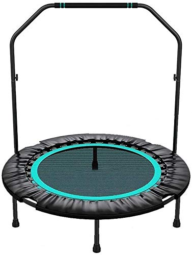 YIHGJJYP Foldable Six Jump Fitness Trampoline with Padding Children's 40' Mini handrail Stable and quiet exercise rebounder for children Adults Indoor Garden Workout Trainer trampoline.