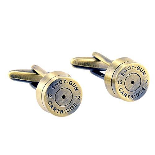 YXCM Bullet Manschettenknöpfe Herren Party Plated Gun Black No. 12 Shotgun Bullet Manschettenknöpfe Neuheit,Gold