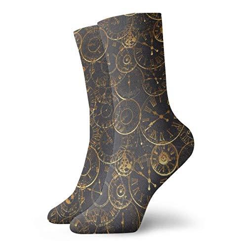 BJAMAJ Unisex Sokken Steampunk Klokken Patroon Google Interessant Polyester Crew Sokken Volwassene Sokken Katoen