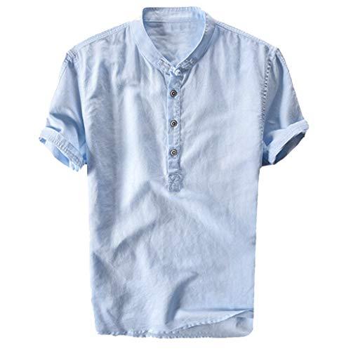 Camicie Uomo Slim Fit Maniche Corte VJGOAL Coreana Bianche Quadri Camicie Uomo Lino Eleganti Classiche da Notte Biancheria Fantasia Colorate con Bottoni Maglietta Estive Spiaggia T-Shirt