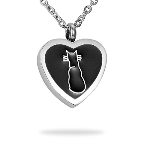 HooAMI Cremation Jewelry Cat Print Warm Heart Pet Memorial Urn Necklace Ashes Keepsake Pendant with Free Engraving