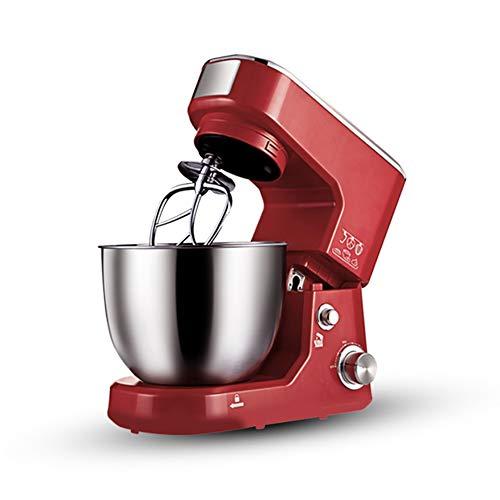 Küchenmaschine, knetmaschine 1000W mit 5L Edelstahl-Rühlschüssel, Rührbesen, Knethaken, Schlagbesen und Spritzschutz, 6 Geschwindigkeit Geräuschlos Teigmaschine, Multifunktion Hohe Kapazität(red)