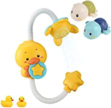 CHAMSON Baby Bath Toy, Duck Electric Automatic Water Pump with Hand Shower Sprinkler-Bath, Swimming Turtle Bath Toys for Toddlers, Bathtub Toys for Kids, Best Gifts for Kids Set of 5