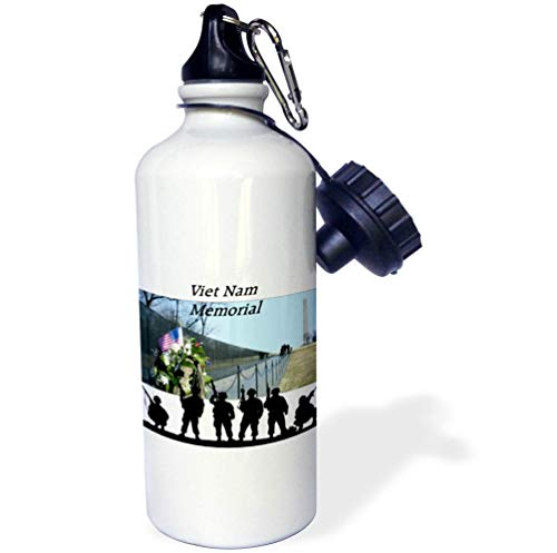 3dRose Lens Art by Florene - Memorial Day - Image of Viet NAM Memorial with Silhouette Soldiers - 21 oz Sports Water Bottle (wb_309798_1)