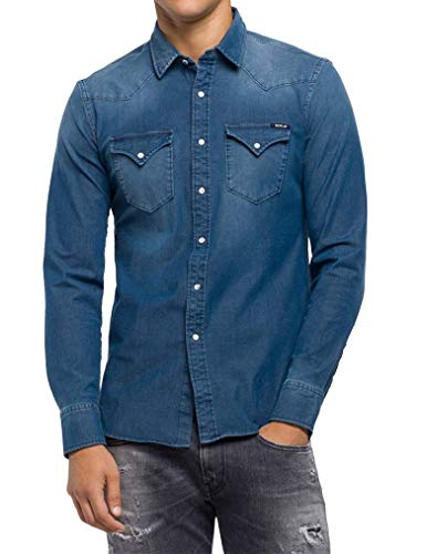 REPLAY M4001 .000.39b 357 Camicia in Jeans, Blu (Denim 9), Medium Uomo