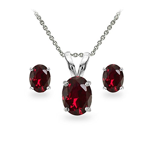 GemStar USA Sterling Silver Synthetic Ruby Oval-Cut Solitaire Necklace and Stud Earrings Set