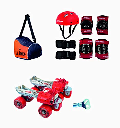 JJ JONEX Tenacity Adjustable Skates Combo (Skates+Helmet+Knee pad+Elbow pad +Skates Gloves + Key+Bag) Suitable (MYC) (Age 6-11 (Meduim))