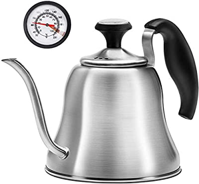 Chefbar Tea Kettle with Thermometer for Stove Top Gooseneck Kettle, Small Pour Over Coffee Kettle, Goose Neck Tea Pot Stovetop Teapot, Hot Water Heater for Camping, Home & Kitchen, Stainless Steel