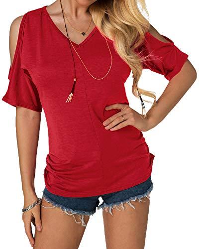 YOINS Schulterfrei Oberteil Damen Sommer Oberteile Frauen Bluse Elegant Kurzarm Tops für Damen Carmen Shirt Rundhals Einfarbig Rot EU40-42