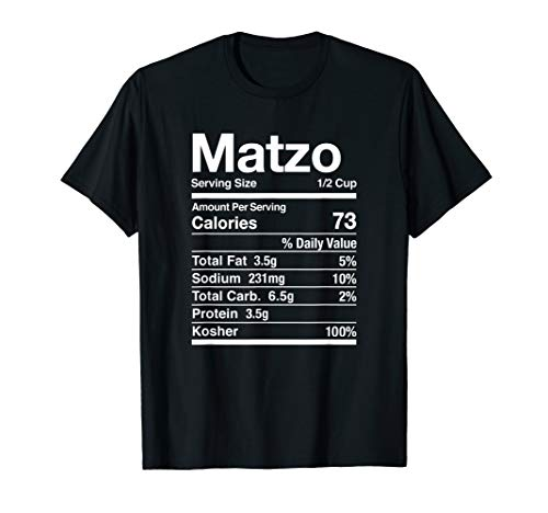 Matzo Nutrition Facts Jewish Kosher Food Hanukkah Passover T-Shirt
