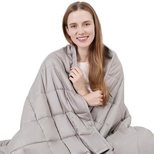 ARNTY Gewichtsdecke Erwachsene 6.8kg,Therapiedecke aus Baumwolle,Weighted Blanket,Gewichtsdecken für Besseren Schlaf,Stressabbau und Angstzustände (Hellgrau, 122*183cm,6.8kg,für Erwachsene)