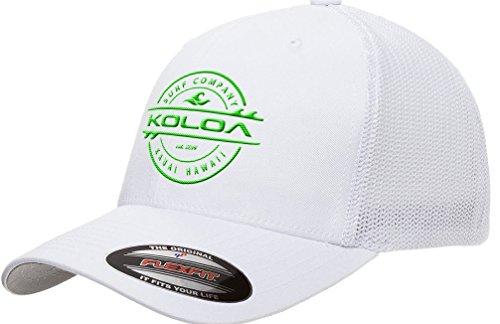 Koloa Surf-Premium Embroidered 34e Flexfit 6511 Truckers Caps White/Green