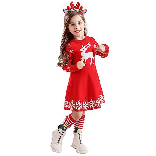 TTYAOVO Vestido de Fiesta de Princesa Navideña de Punto de Manga Larga para Niñas de 2 a 6 Años 5-6 Años Rojo