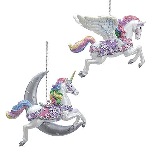 Pastel Purple and Pink Unicorn Pegasus 4 inch Resin Hanging Christmas Ornament