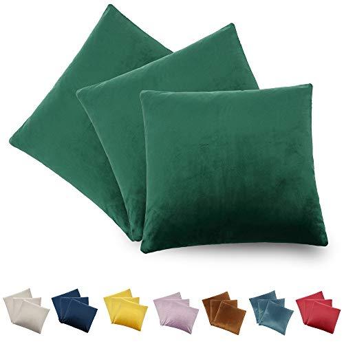 CALIYO - Funda de cojín de terciopelo, universal, 2 o 3 fundas de almohada para cojines decorativos, cojines de sofá, cojines de sofá, 45 x 45 cm, muchos colores, 2 botellas., 40 x 40 cm