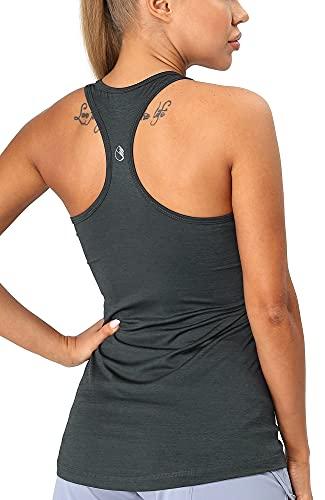 icyzone Damen Sporttop Yoga Tank Top Ringerrücken Oberteil Laufen Fitness Funktions Shirt (XS, Ombre Blue)