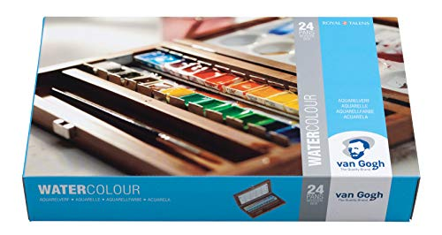 Van Gogh Watercolor Paint Set, Wood Box, 24-Half Pan + 3 Accessories