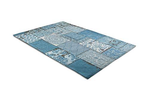 LIFA LIVING - Alfombra Vintage con Bonito Patchwork, para salón y Dormitorio, 30% algodón, 70% poliéster (Azul, 80 x 150 cm)