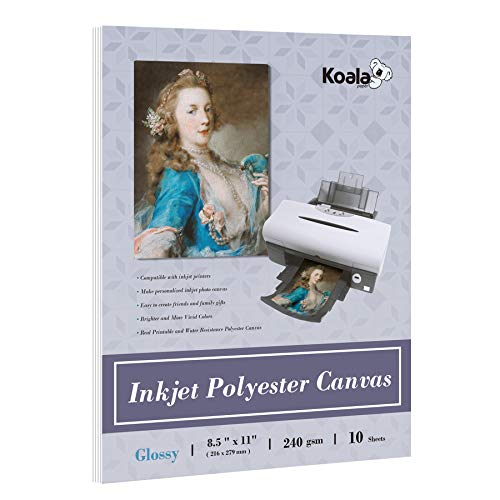 Koala Printable Inkjet Canvas Glossy Photo Paper Polyester Premium Textured 10 Sheets 8.5x11 Inches 11 Mil Thick 240gsm for Inkjet Printers
