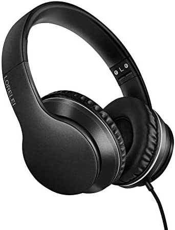 LORELEI X6 Over-Ear Headphones with Microphone, Lightweight Foldable & Portable Stereo Bass Headphones with 1.45M No-Tangle, Wired Headphones for Smartphone Tablet MP3 / 4 (Space Black)